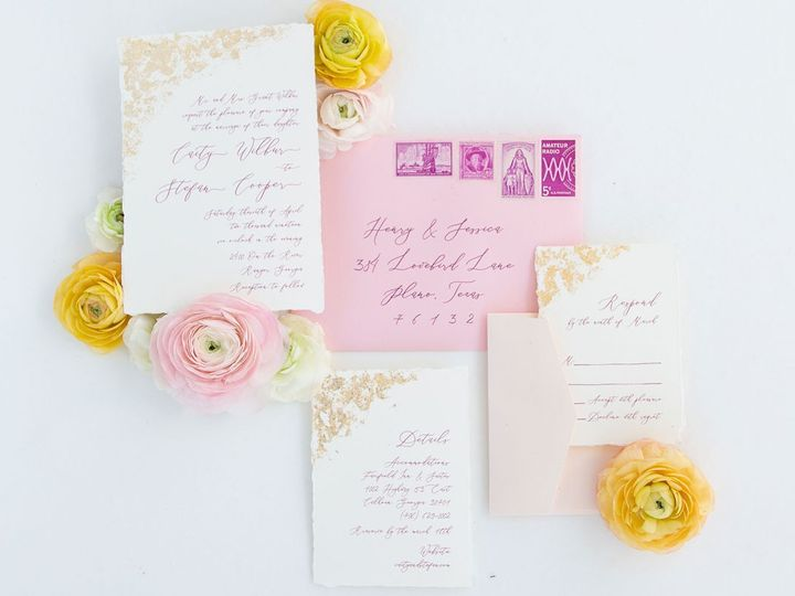 Tmx Goldgildedpinkcalligraphydeckled 51 623329 1559415088 Burleson, Texas wedding invitation