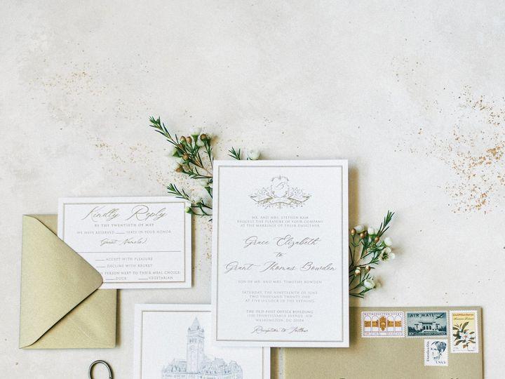 Tmx Goldthermographymonogramsuite 51 623329 161782515998223 Burleson, Texas wedding invitation