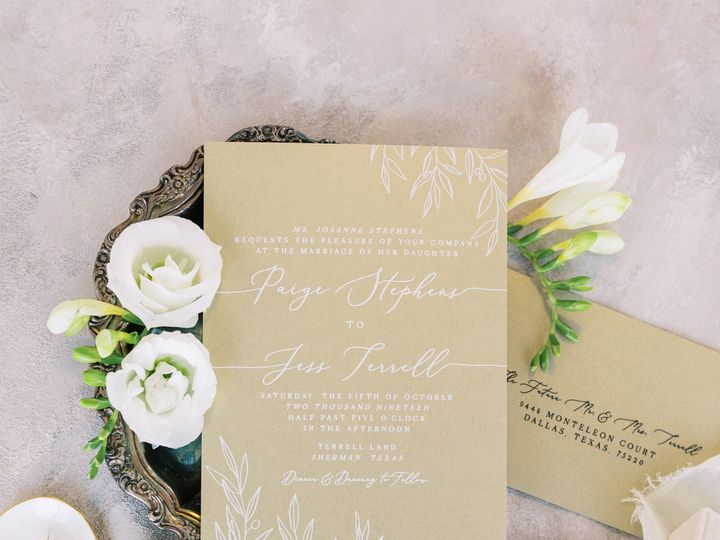 Tmx Metallicgoldwhite Greenery 51 623329 157936978681159 Burleson, Texas wedding invitation