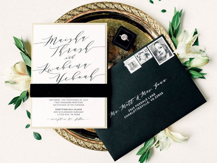 Tmx Modernblackandgoldvelvet 51 623329 1559415104 Burleson, Texas wedding invitation