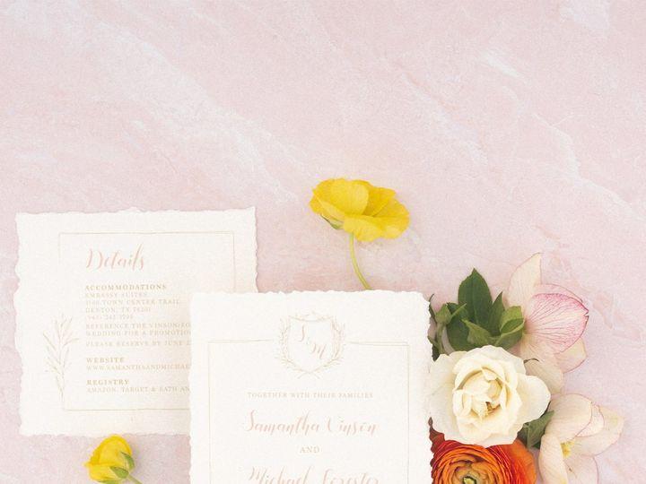 Tmx Monogramcrestininivoryblushdeckled 51 623329 Burleson, Texas wedding invitation