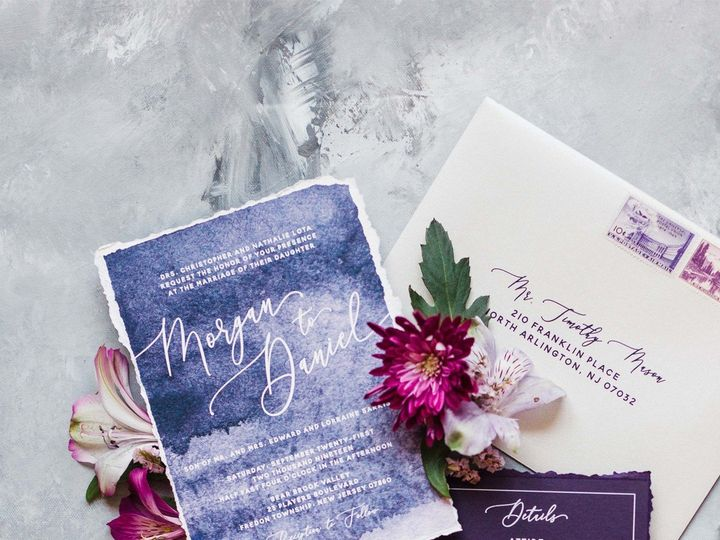 Tmx Purplewatercolor Decklededge Invitation 51 623329 1570911699 Burleson, Texas wedding invitation