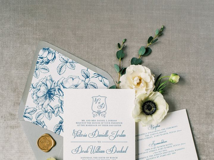 Tmx Slateblueletterpressinvitationwithmonogram 51 623329 161782518764475 Burleson, Texas wedding invitation