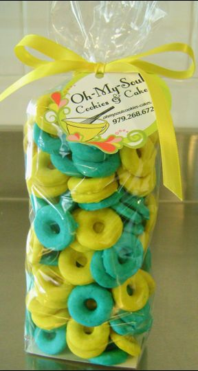 Italian Ring Cookies glazed Teal and Yellow