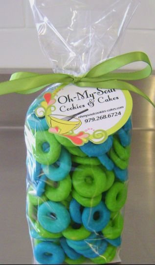 Italian Ring Cookies glazed Teal, Blue and Lime