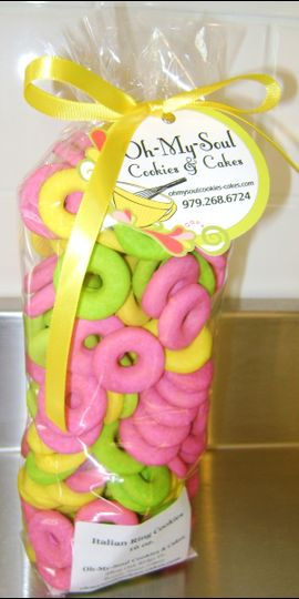 Italian Ring Cookies glazed Pink, Yellow and Lime