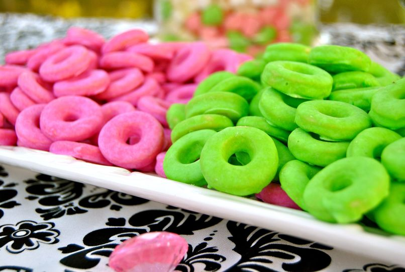 Italian Ring Cookies glazed Pink and Lime