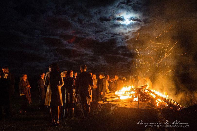 Bonfire under the moonlight
