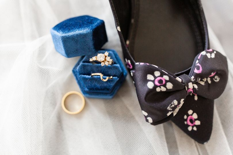 Floral shoes and blue ring box