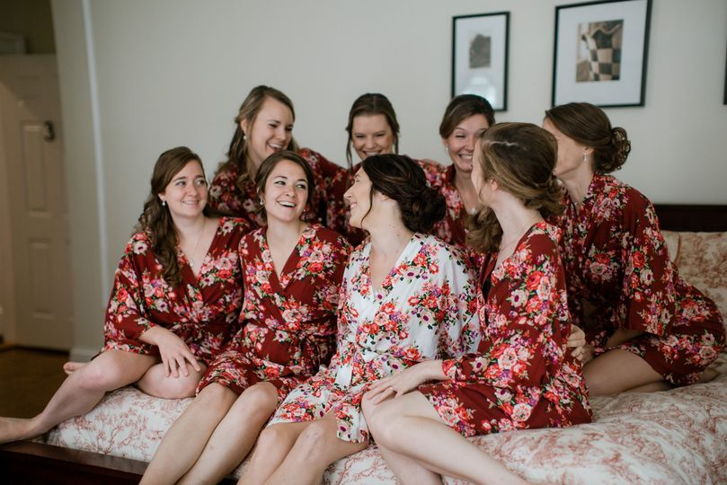 Bridesmaids and bride together