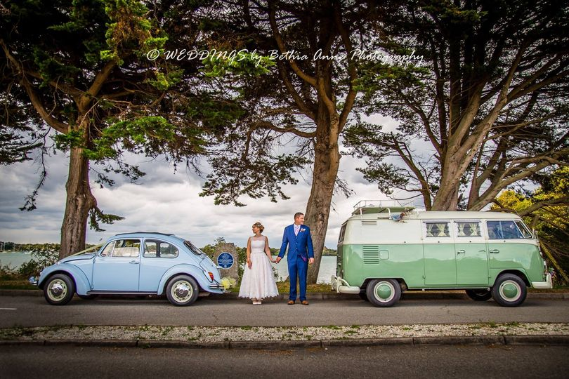 With their wedding cars