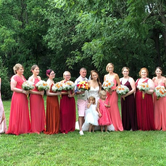 Brides maids in a row