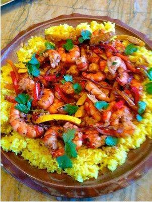 Saffron rice with chili shrimp