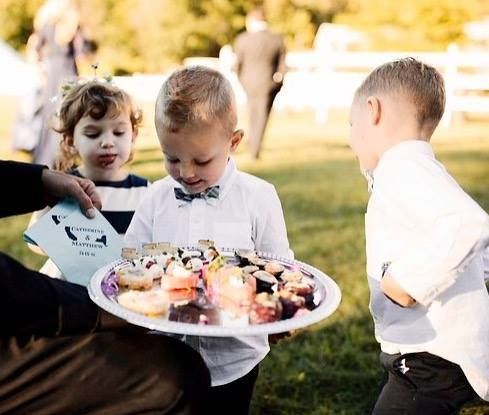 The ring boys attack the bride and groom platter!