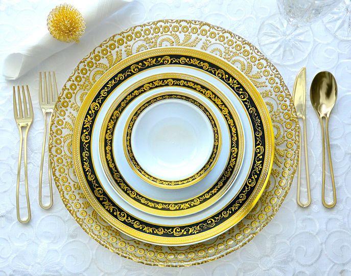 Royal black and gold plates