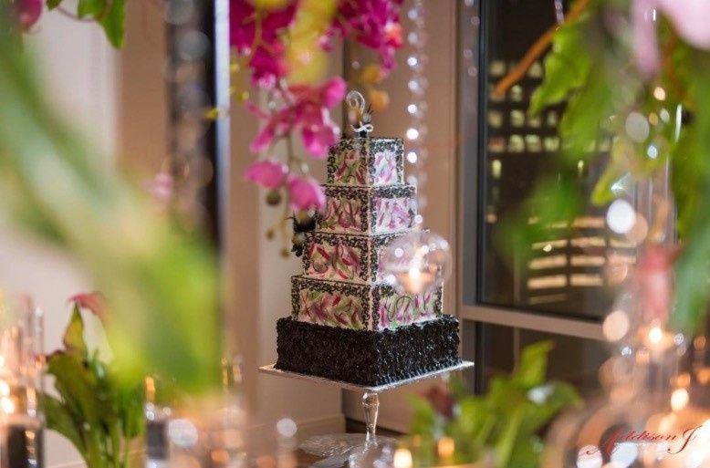 5-tier rectangular wedding cake