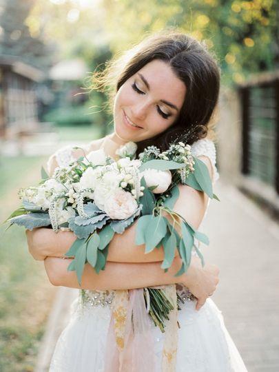 Bride, Irina, with her bouquet