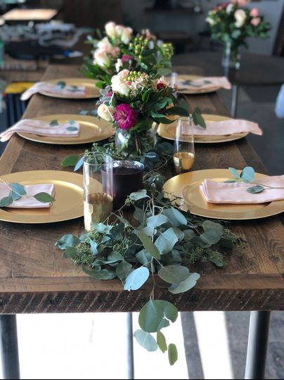 Dressed table for reception