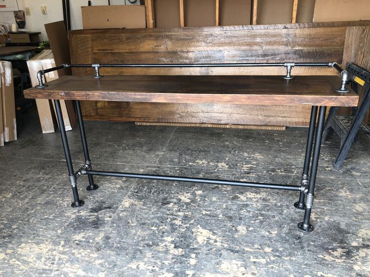 Bar tables with drink rail