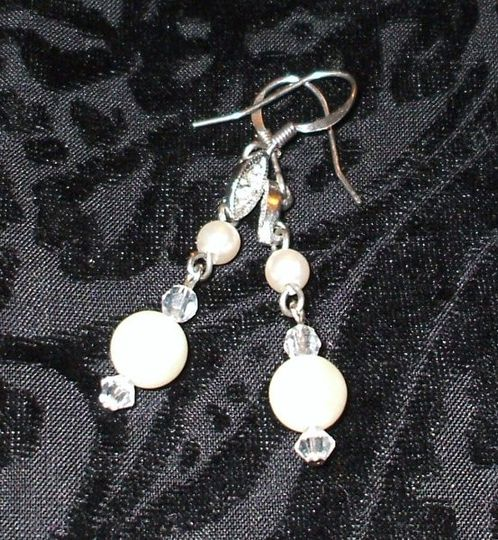 Crystal and Glass Pearl drop earrings