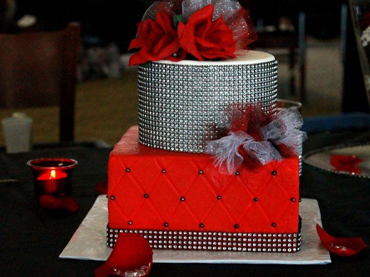Tmx 1447903560623 Img2467.jpg Red Black Bling Poof Cake On Table Pic Indianapolis wedding cake