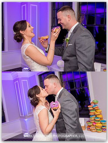 The couple loved Allie's donuts - so they have a donut tower at their wedding. These images show...