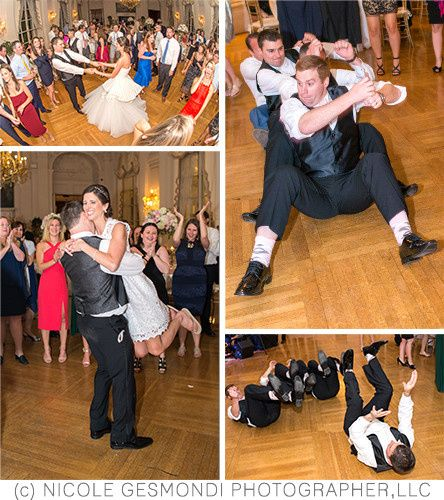 Guests dancing on the dance floor at their Rosecliff Wedding. Entertainment by Night Shift {Wedding...