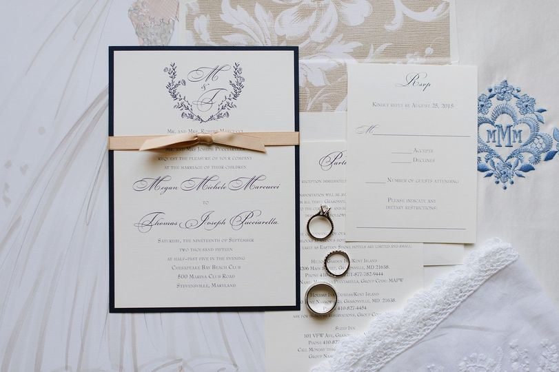 Invitation with monogram with hand drawn flowers and floral liner