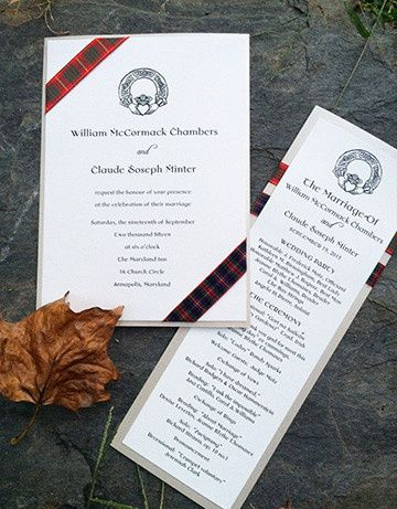 Scottish themed wedding invitation and wedding day off accessories