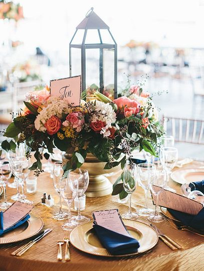 Table numbers placed within flower arrangements