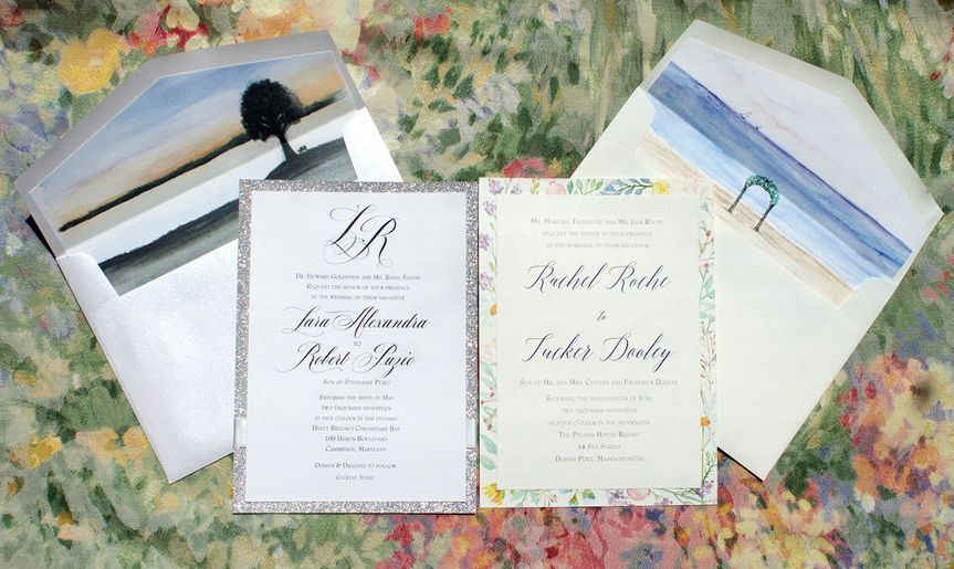 Invitations with watercolor accents and envelope liners