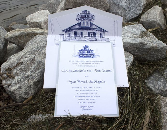 Chesapeake Bay Maritime Museum Lighthouse hand drawn on wedding invitation ensemble