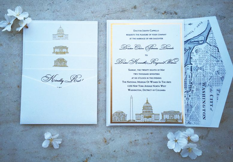 Washington D.C. wedding invitation suite with hand drawn D.C. landmarks