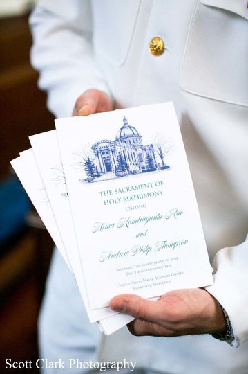 United States Naval Academy Chapel Keepstake wedding program