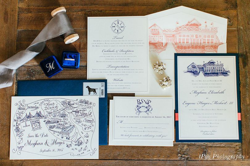 Chesapeake Bay Beach Club wedding invitation ensemble