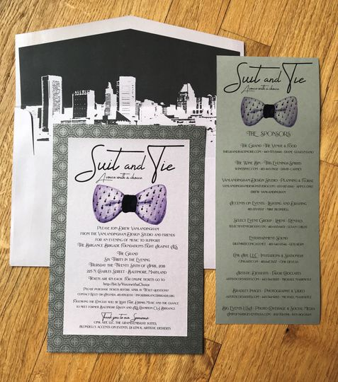 Brigance Brigade fundraiser invitation with watercolor and Baltimore skyline envelope liner