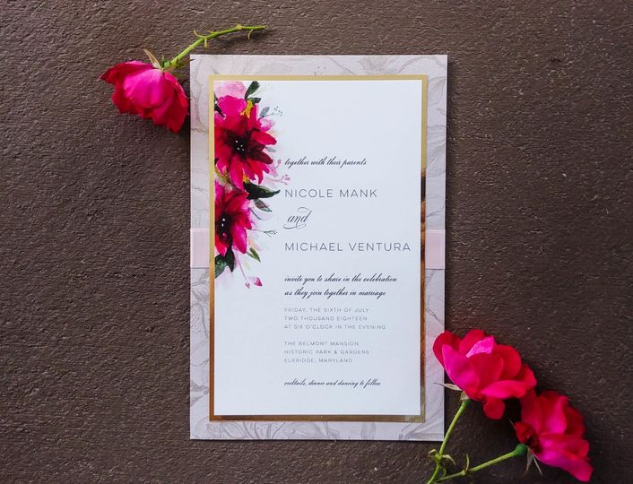 Formal invitation with hand painted florals and patterned background