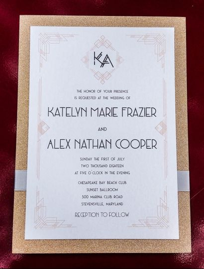 Great Gatsby themed wedding invitation on rose gold sparkle background