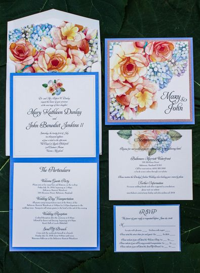 Square pocket folder with hand painted floral invitation and accessory cards