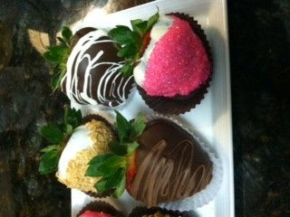 These are our variety dipped Strawberries topped in Pink Sugar, crushed Graham Crackers, and...