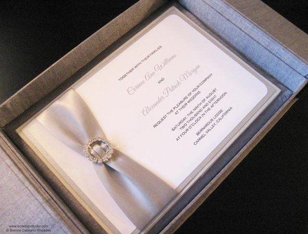 The Posh Silk Box wedding invitation with crystal buckle and satin ribbon from Brenna Catalano...