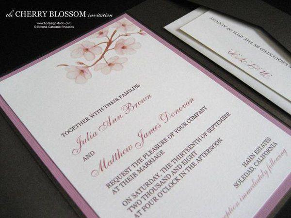 The Cherry Blossom invitation with original cherry blossom artwork by Brenna Catalano Design Studio....