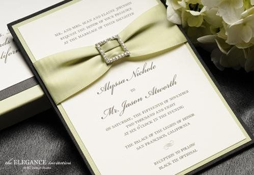 The Elegance Silk Pocket wedding invitation with satin ribbon and crystal buckle from Brenna...