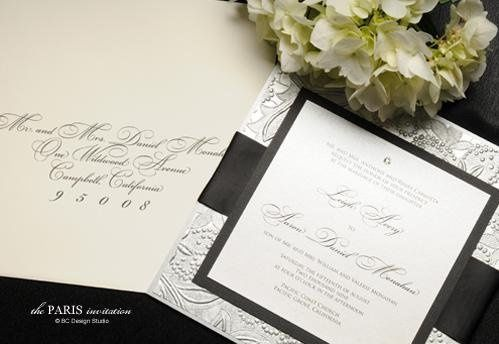 The Paris Embossed Wedding Invitation with silver embossed paper, crystal accent and silk ribbon...