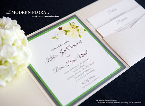The Modern Floral invitation from Brenna Catalano Design Studio features a hand painted floral...