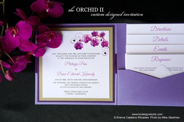 Purple Orchid Wedding Invitation with original painted purple Phalaenopsis Orchid motif by Brenna...