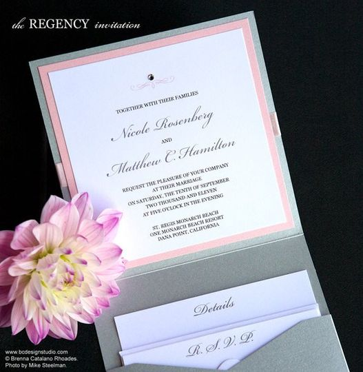 The Regency invitation with double layer, crystal accent and satin ribbon from Brenna Catalano...