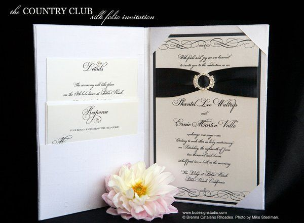 The Country Club silk wedding invitation folio with crystal buckle and satin ribbon from Brenna...