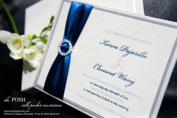 The Posh Silk wedding invitation with crystal buckle and satin ribbon from Brenna Catalano Design...