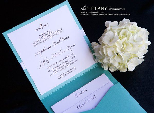 The inside of our Tiffany blue themed wedding invitation with Swarovski Crystal accent and...